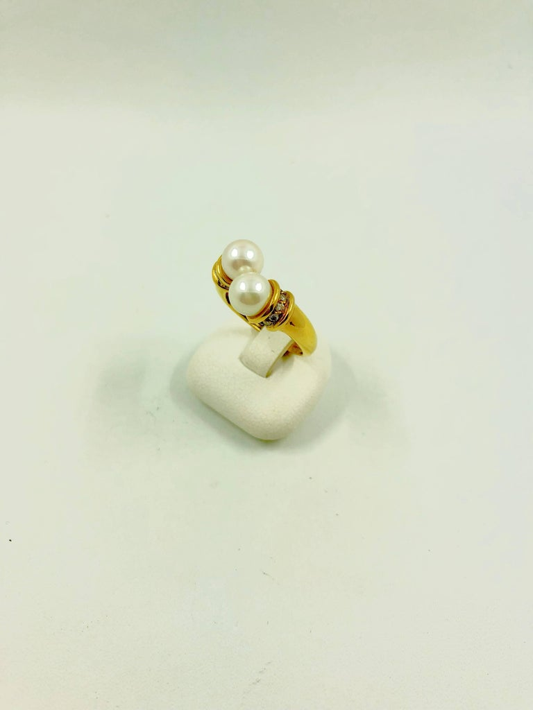 Akoya Pearls Diamonds Gold Bypass Ring In New Condition For Sale In Colmar, FR