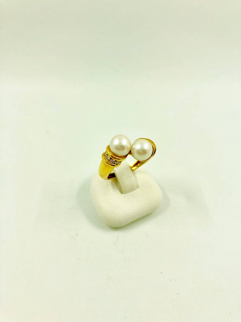 Akoya Pearls Diamonds Gold Bypass Ring For Sale 2