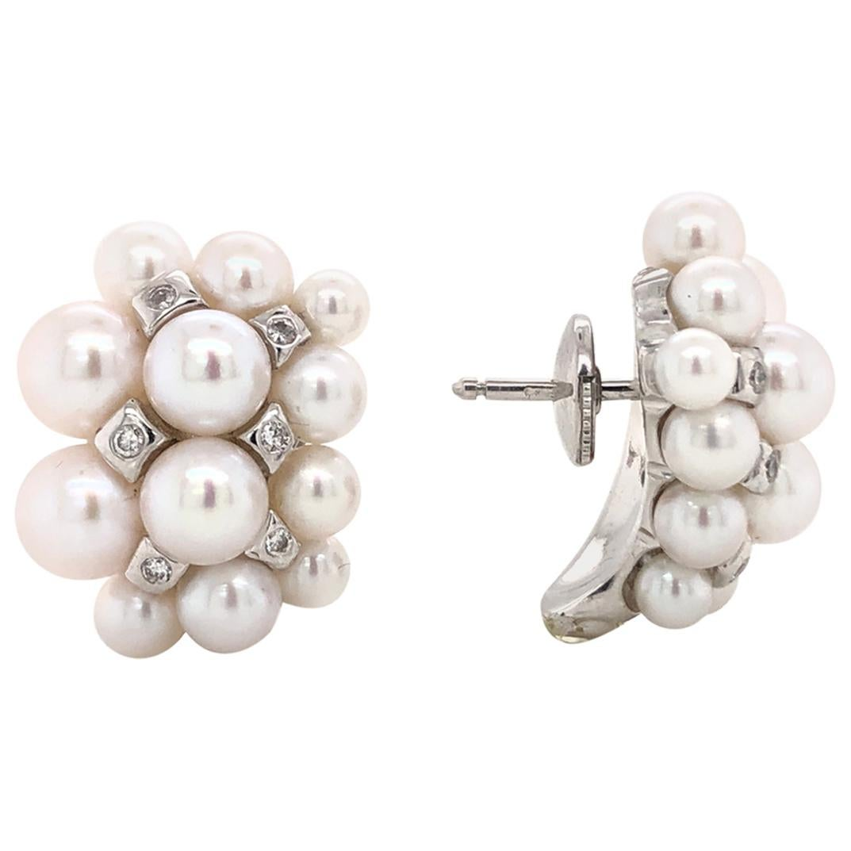 Akoya Pearls with White Diamonds on White Gold 18 Karat Earrings