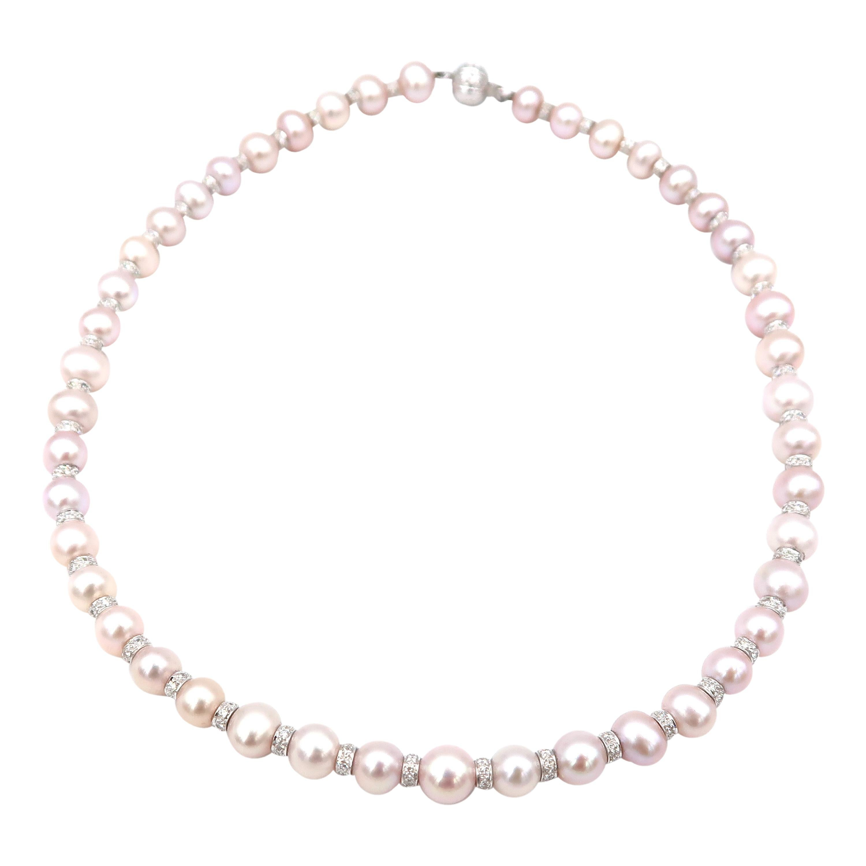 Akoya Pink Pearl Single Strand Necklace with Diamond Spacers in Between