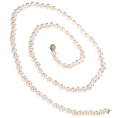 Akoya Saltwater Pearl Diamond 18 Karat Gold Necklace