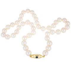 Akoya Sapphire Diamond Yellow Gold Pearl Necklace