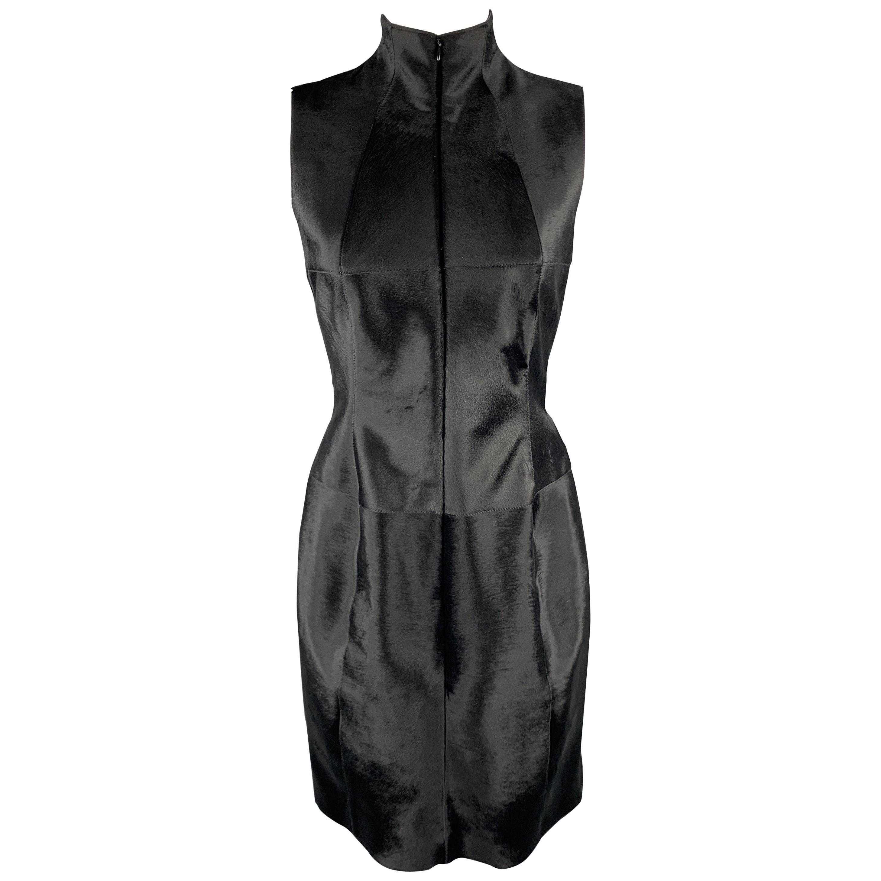 AKRIS 6 Black Pony Hair Leather Sleeveless Pleated Back High Neck Cocktail Dress