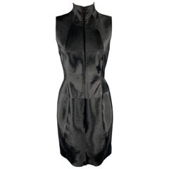 AKRIS 6 Black Pony Hair Leather Sleeveless Pleated Back High Neck Cocktail Dress