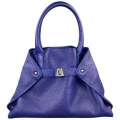AKRIS Ai Little Cuervo Blue Leather Pebble Grain Shoulder Bag