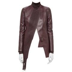 Akris Aubergine Lambskin Woven Panel Leather Jacket - Size US 6