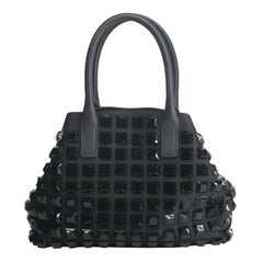 Akris Black Mini Handle Bag with Studded Detail