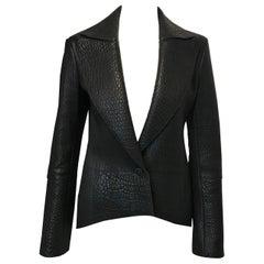 Akris Black Pebbled Leather Jacket, size 4