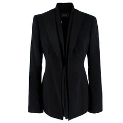 Akris Black Wool Delaney Tailored Satin Lapel Jacket - Size US 4