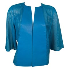 Akris Bright Blue Perforated Leather Jacket