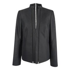 Akris Jacket Black Nehru Mandarin Collar Pretty Cutout 8