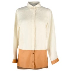 Akris Lined and Cotton Top Shirt Tunic Bone and Butterscotch 8