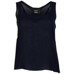Akris Navy Blue Silk Sleeveless Top W/ Side Zipper Sz 4