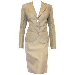 Akris Pale Green Linen and Silk Skirt Suit Size 12 US