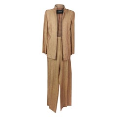 Akris Pant Suit Camel Linen Tweed Pant 10 Jacket 12