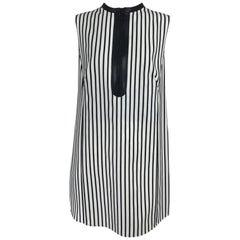 Akris Punto Black and White Stripe Zipper Front Tunic