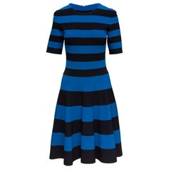 Akris Punto Blue & Black Striped A-Line Dress