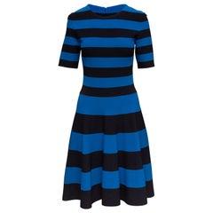 Akris Punto Blue & Black Striped A-Line Dress