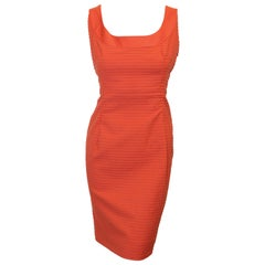 Akris Punto Orange Puckered Fabric Sleeveless Dress