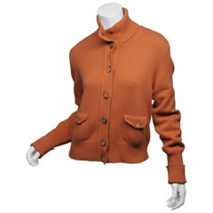 Akris Punto Size 10 Orange Wool Button Down Turtle Neck Sweater