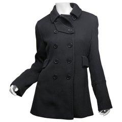 Akris Punto Size 6 Black Wool Peacoat