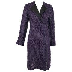 AKRIS Purple Embroidered Black Tulle Coat with Black Silk Collar