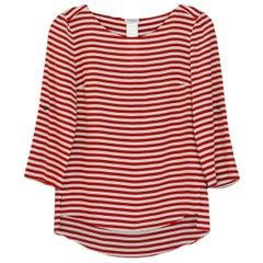 Akris Rust/White Slik Stripe Sleeve Top sz 2