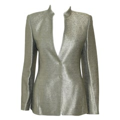 Akris Silver Green Cotton Textured Jacket With Up Collar