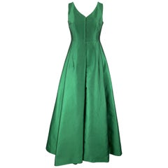 AKRIS Size 10 Green Silk Shantung Pleated Skirt Stapless Gown