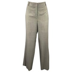 AKRIS Size 10 Grey Glenplaid Gabardine Wide Leg Dress Pants