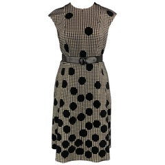 AKRIS Size 12 Black & Beige Polka Dot Houndstooth Belted Shift Dress