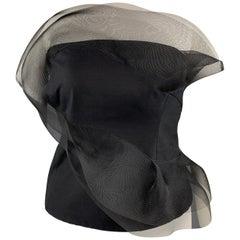 AKRIS Size 12 Black Cotton / Silk Strapless Mesh Ruffle Bustier Top