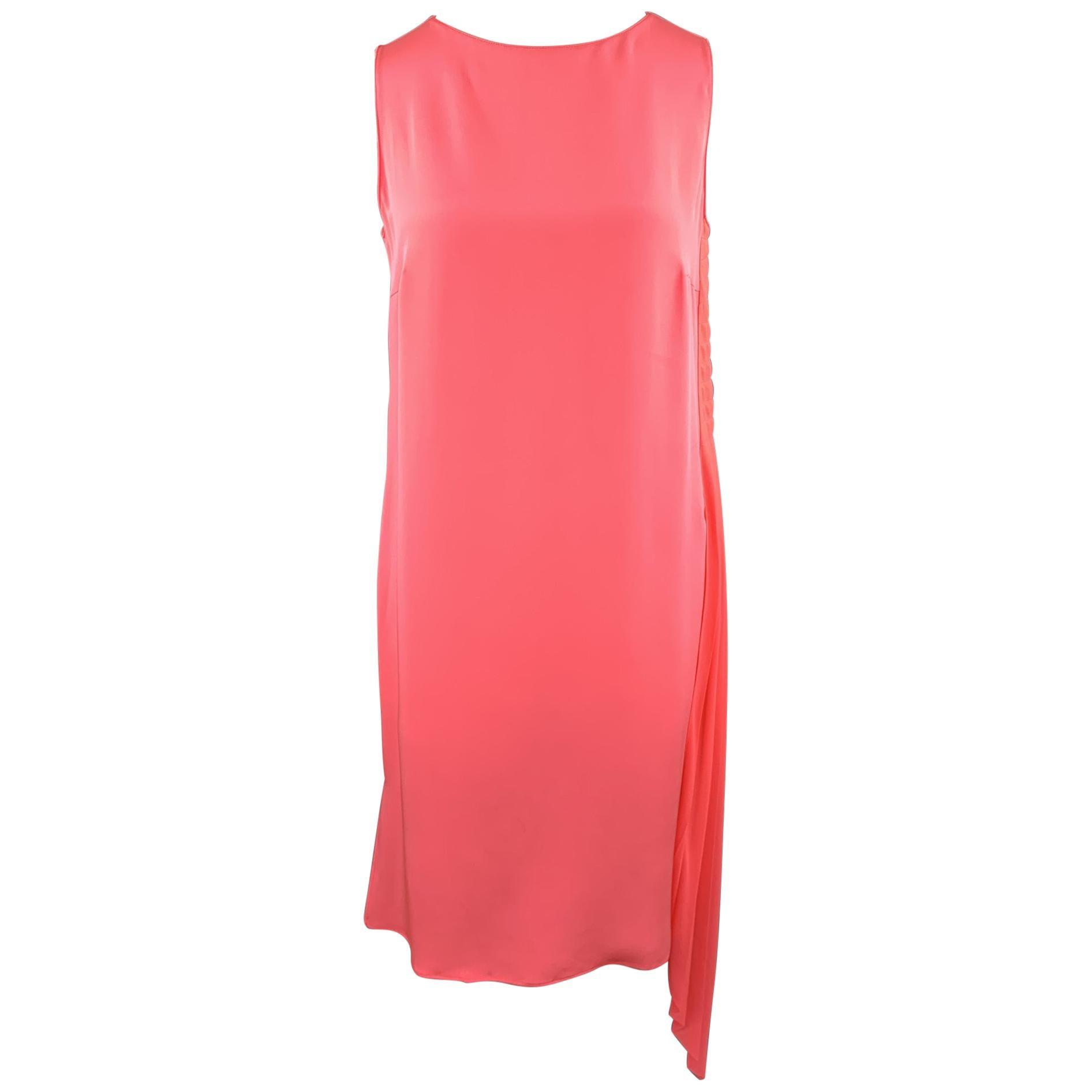 AKRIS Size 12 Pink Silk Chiffon Sleeveless Side Pleat Shift Dress