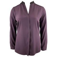 AKRIS Size 12 PLum Purple Silk Black Band Collar Blouse