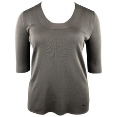 AKRIS Size 12 Taupe Gray Silk Knit Scoop Neck 3/4 Sleeve Pullover