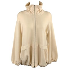AKRIS Size 14 Cream Wool Blend Jacket High Neck Sweater Jacket