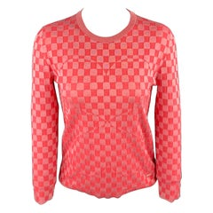 AKRIS Size 2 Pink Checkered Silk Blend Crew-Neck Pullover