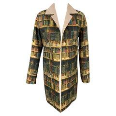 AKRIS Size 4 Multi-Color Cotton / Polyamide Reversible Open Front Theatre Coat