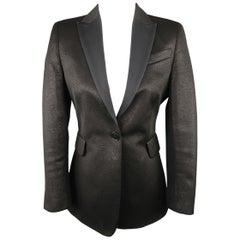 AKRIS Size 6 Black Sparkle Fabric Twill Peak Lapel Tuxedo Jacket