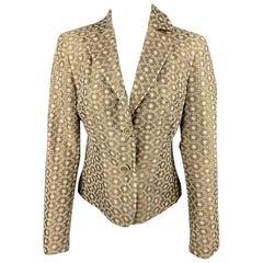 AKRIS Size 6 Taupe & Cream Silk / Cotton Embroidered Taffeta Cropped Blazer