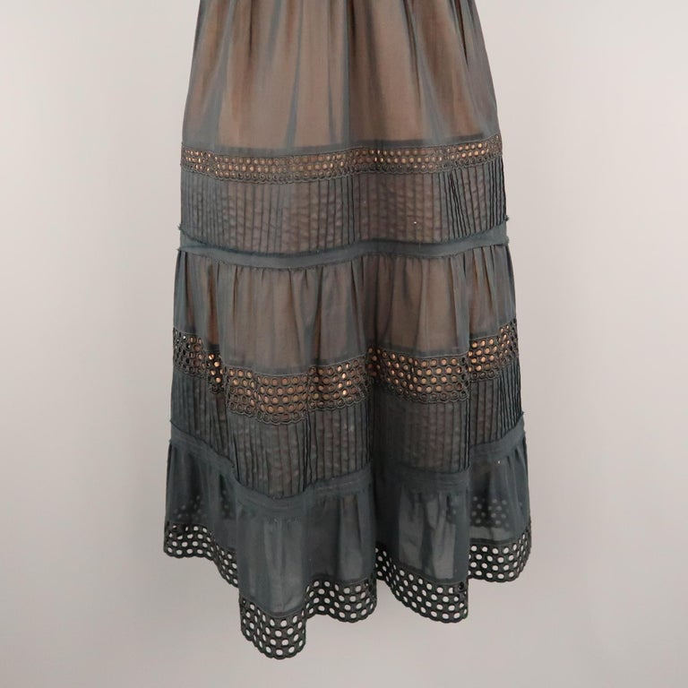 AKRIS Size 8 Black Layered Skirt Peasant Dress In Good Condition For Sale In San Francisco, CA