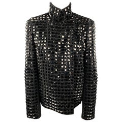 AKRIS Size 8 Black Studded Wool / Nylon Zip Up Jacket