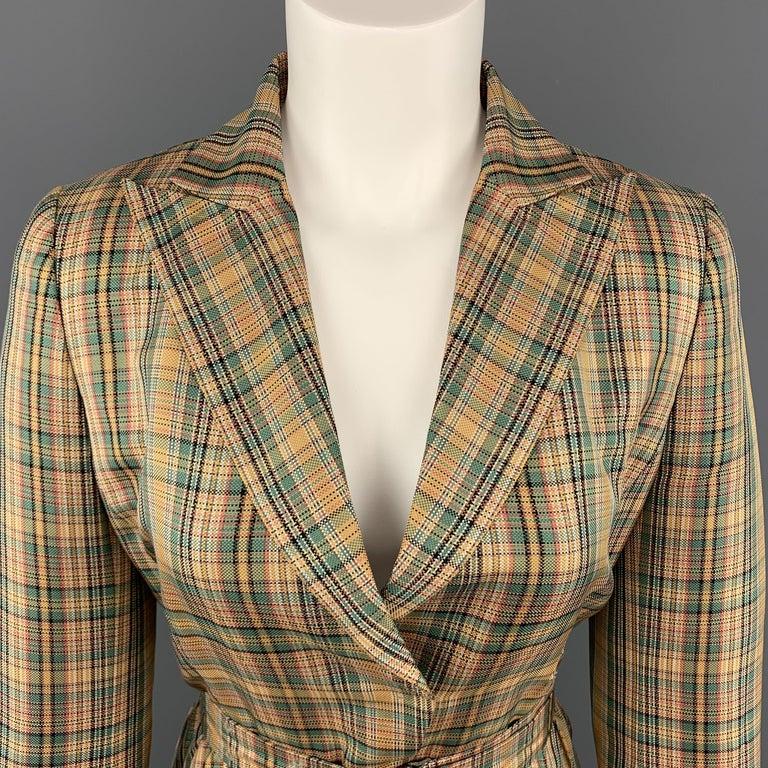 43fe266b2 AKRIS Size 8 Gold & Green Plaid Silk Cropped Belted Blazer