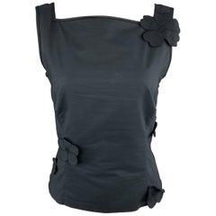 AKRIS Size 8 Navy Cotton Square Neck Flower Sleeveless Dress Top