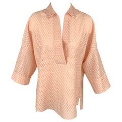 AKRIS Size 8 Pink Eyelet Polyester Tunic Blouse