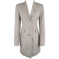 AKRIS Size US 6 Light Heather Gray Notch Lapel Three Button Long Coat