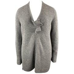 AKRIS Size XL Grey STretch Cashmere Chunky Oversized V Neck Zip Knot Sweater