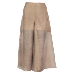 Akris tan sheer flared Midi Skirt S