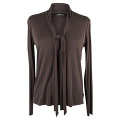 Akris Top Brown Long Sleeve Self Tie Slinky Silk  10