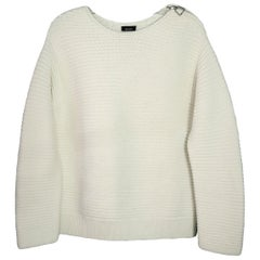 Akris White Wool Ribbed Sweater with Shoulder Zipper sz L
